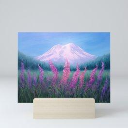 Fireweed Phenomenon on Mount Rainier Mini Art Print