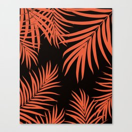 Palm Leaves Pattern Orange Vibes #1 #tropical #decor #art #society6 Canvas Print
