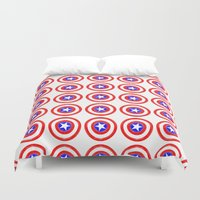 agents of shield Duvet Covers featuring Shield (W) by Luca Draws
