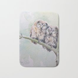 TWO CUTE OWLS Wildlife birds in the forest Watercolor painting Bath Mat