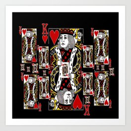 BLACK KING OF HEARTS CASINO PLAYING CARDS FROM Art Print
