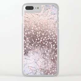 Shiny Spring Flowers - Pink Cherry Blossom Pattern Clear iPhone Case