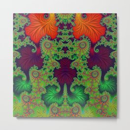 Psychedelic Centrepiece - Mirrored Fractal Art Metal Print