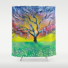Entanglement, colorful tree landscape, beautiful landscape, cypress tree Shower Curtain