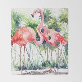 Flamingo Flamingos and Papyrus, flamingo lover pink green art Throw Blanket