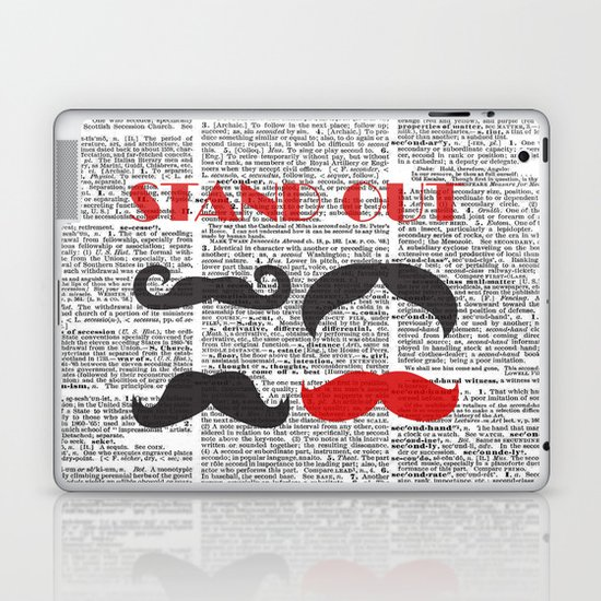 """""""Stand Out Mustache"""" Dictionary Page – Original Digital Art Print Laptop & iPad Skin"""