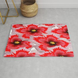 A Garden of Blossoms in Red Rug