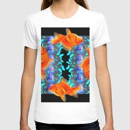 PATTERNED  BLUE BUTTERFLIES GOLD FISH & BLACK ARTWORK T-shirt