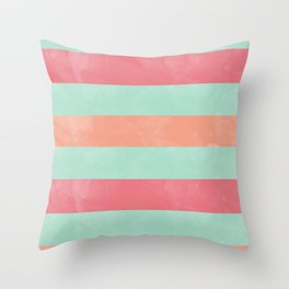 Oui Oui Mon Cheri Throw Pillow with Mint and Pink Stripes Throw Pillow