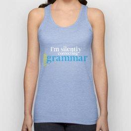 English Teacher T-Shirt I'm Silently Correcting Your Grammar Unisex Tank Top