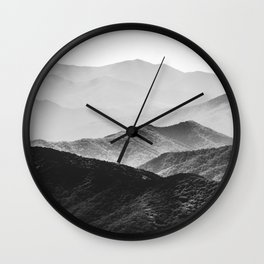 Glimpse - Black and White Mountains Landscape Nature Photography Wall Clock