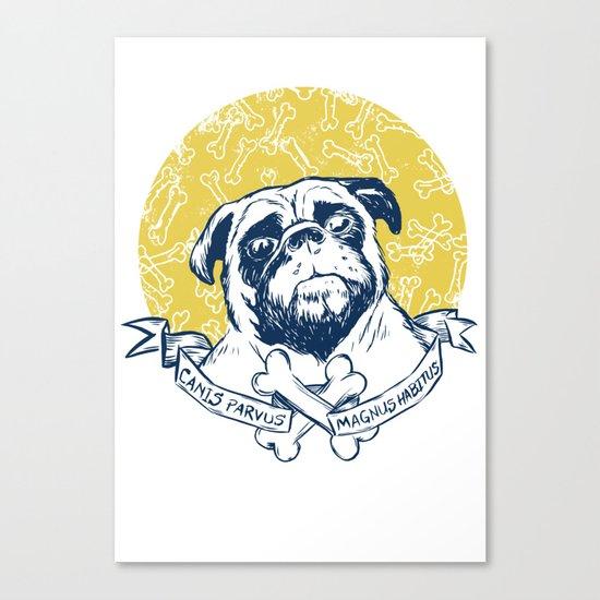 Pug : Small dog, big attitude. Canvas Print