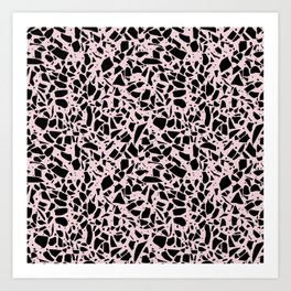 Terrazzo Spots Black on Blush Repeat Art Print