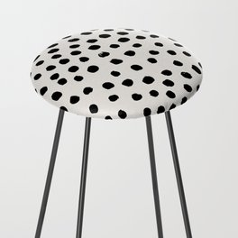 Preppy brushstroke free polka dots black and white spots dots dalmation animal spots design minimal Counter Stool