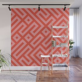 Modern Aztec Tribal Maze Red and Pink Wall Mural
