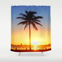 miami Shower Curtains featuring Miami Sunrise by JT Digital Art