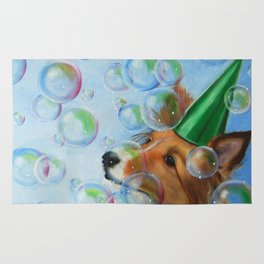 Party Girl Sheltie Dog Painting Rug