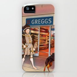 Henry VIII and Anne Boleyn get a steak bake at Greggs with Tommy on tow and Poundland shopping iPhone Case