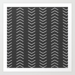 Mudcloth Black white arrows Art Print