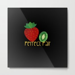 Strawberry Kiwi Perfect Pair Metal Print