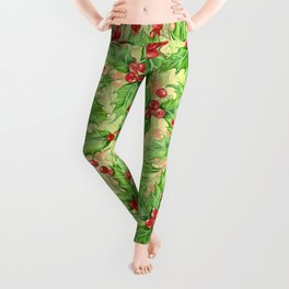 Holly berry watercolor Christmas pattern Leggings