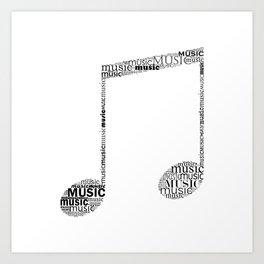 Typographic music note Art Print