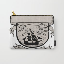 Wolf Running Over Pirate Ship Crest Scratchboard Carry-All Pouch