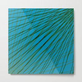 Rays of green light with mirrored dark waves on light blue. Metal Print