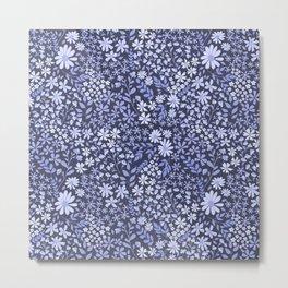 Blue English Garden -Navy Background Metal Print