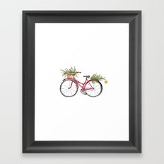 Red Christmas bicycle Framed Art Print
