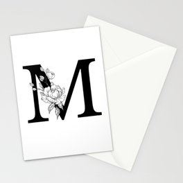 M botanical monogram. Letter initial with peonies Stationery Cards