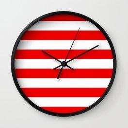 Stripe Red White Wall Clock