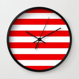 Stripe Red White Wall Clock