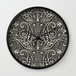 paisley on berry ground in black and white Wall Clock