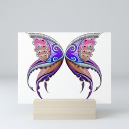 Fairy Wings Zentangle - Chrome and Stained Glass Mini Art Print