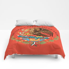 Mexican National Coat of Arms & Seal on Adobe Red Comforters