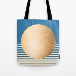Sun Gradient - Orange Sherbet Shimmer on Saltwater Taffy Teal Tote Bag