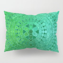Green Mandala Circle Pillow Sham