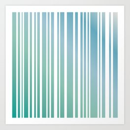 Chalky Pale ocean green stripes Art Print