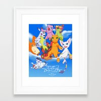 digimon Framed Art Prints featuring Digimon Tri by Kazenishi