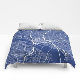 Dallas Map, USA - Blue Comforters