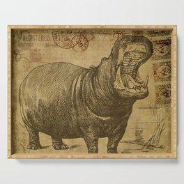 Vintage retro Hippo wildlife animal africa Serving Tray