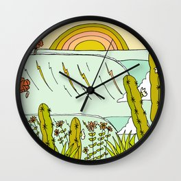 where nature and waves bloom art by surfy birdy Wall Clock
