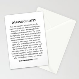 Daring Greatly, Theodore Roosevelt, Quote Stationery Cards