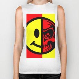 Smiley Face Skull Yellow Red Biker Tank