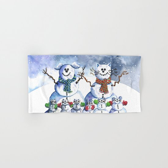 It's Snowing Cats and Dogs (and Mice too) Hand & Bath Towel