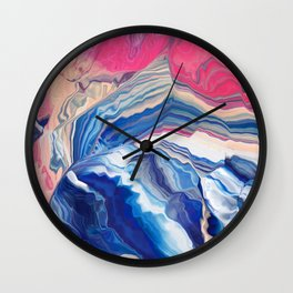 The wave with pink trails Wall Clock
