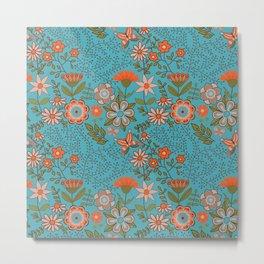Fantasy Floral in Blue and Orange Metal Print