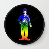 chaplin Wall Clocks featuring Chaplin by PsychoBudgie