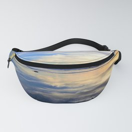 Blues and Oranges at Sunset with Reflections on the Shore by Reay of Light Fanny Pack